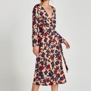 ZARA Trafulac Collection Floral Midi Wrap Dress, M